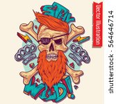 skull in swag style  vector... | Shutterstock .eps vector #564646714