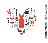 woman's things set in heart... | Shutterstock .eps vector #564660958