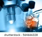 microscope with laboratory... | Shutterstock . vector #564666328