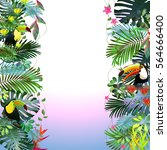 toucans in the tropical forest... | Shutterstock .eps vector #564666400