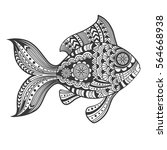 hand drawn zentangle fish with ... | Shutterstock .eps vector #564668938