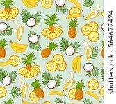 banana  coconut  pineapple.... | Shutterstock .eps vector #564672424