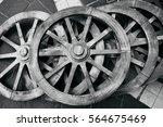Old Rustic Wooden Wagon Wheels...