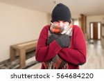 cold sick man with influenza... | Shutterstock . vector #564684220