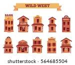 wild west building set for game ... | Shutterstock .eps vector #564685504