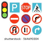vector road sign set | Shutterstock .eps vector #564690304