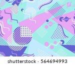 memphis seamless pattern.... | Shutterstock .eps vector #564694993