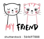 cute cats friendly cats cats... | Shutterstock .eps vector #564697888