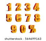 3d red yellow golden metallic... | Shutterstock .eps vector #564699163