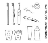teeth care tools simple set of... | Shutterstock .eps vector #564703498