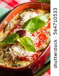 Stock photo healthy lasagna gluten free with eggplant and roasted pepper 564710533