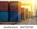 container container ship in... | Shutterstock . vector #564720760