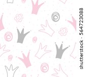hand drawn pattern with crown.... | Shutterstock .eps vector #564723088