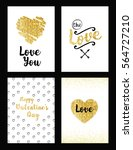the gold set of valentine's day ... | Shutterstock .eps vector #564727210