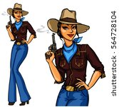 pretty cowgirl holding smoking... | Shutterstock .eps vector #564728104