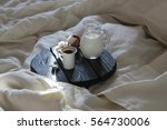 morning coffee and milk in bed | Shutterstock . vector #564730006