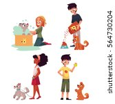 happy kids feeding  washing ... | Shutterstock .eps vector #564730204