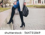 young stylish woman walking in... | Shutterstock . vector #564731869
