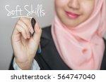 business woman writing text  ... | Shutterstock . vector #564747040