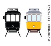 lisbon tramway in black and... | Shutterstock .eps vector #564747676