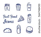 doodle set of fast food icons   ... | Shutterstock .eps vector #564748450