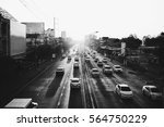 Stock photo traffic in sunset black and white photograph 564750229