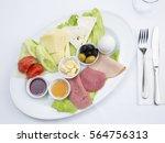 turkish breakfast served in the ... | Shutterstock . vector #564756313