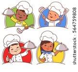 set with cute cartoon kids as... | Shutterstock .eps vector #564759808