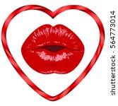 lips women kiss mouth heart... | Shutterstock .eps vector #564773014
