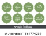 food logos set. organic vegan... | Shutterstock .eps vector #564774289