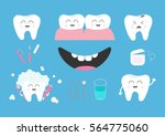 tooth health icon set.... | Shutterstock .eps vector #564775060