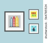 pictures on the wall with... | Shutterstock .eps vector #564785524