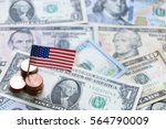 us flag sign and dollar cash... | Shutterstock . vector #564790009