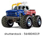 cartoon monster truck.... | Shutterstock .eps vector #564804019
