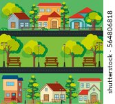 scene with houses along the...   Shutterstock .eps vector #564806818
