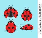 cute ladybugs icon set .flat... | Shutterstock .eps vector #564810790