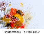 mix of herbs and spices... | Shutterstock . vector #564811810