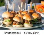 mini hamburgers  mini burgers ... | Shutterstock . vector #564821344