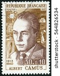 Small photo of MOSCOW, RUSSIA - AUGUST 27, 2016: A stamp printed in France shows Albert Camus (1913-1960), 1967