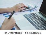 asian business woman using a... | Shutterstock . vector #564838018