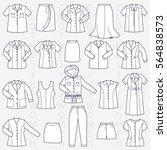 clothes for women linear vector ... | Shutterstock .eps vector #564838573