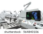 automation industry with 3d... | Shutterstock . vector #564840106