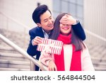 valentines day concept of young ... | Shutterstock . vector #564844504
