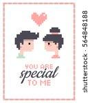 romantic illustration. boy and... | Shutterstock .eps vector #564848188