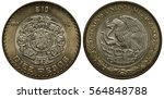 Small photo of Mexico Mexican bimetallic coin 10 ten peso 1997, Aztec carving in inner circle, denomination below, eagle on cactus catching snake