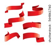 set of red vector ribbons | Shutterstock .eps vector #564861760