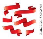 set of red vector ribbons | Shutterstock .eps vector #564861778
