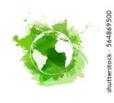 world symbol on green... | Shutterstock .eps vector #564869500