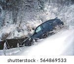 car crash winter. flew off the... | Shutterstock . vector #564869533