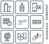 set of 9 traveling icons.... | Shutterstock .eps vector #564869569